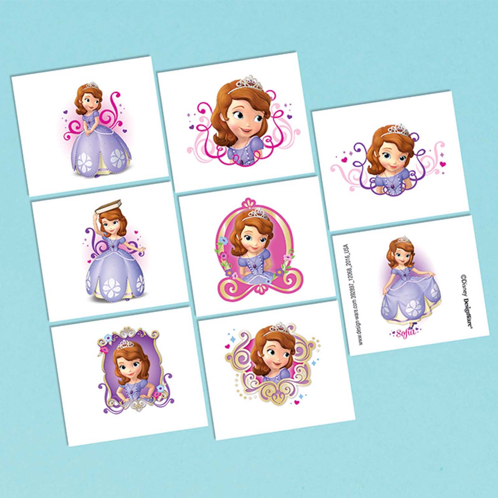 Sofia The First Tattoo Favors (16 Pack) - Party Supplies