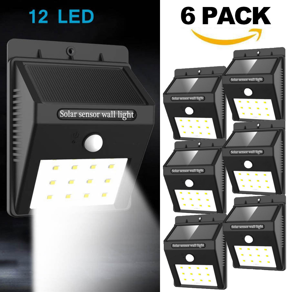 Pack of 6 Eleoption Wide Angle Solar Powered Motion Sensor LED Light Recharged Wireless SUPER BRIGHT 20 LEDs Solar Lights Waterproof Outdoor Wall Light Security Lights for Garden Driveway Patio Yard
