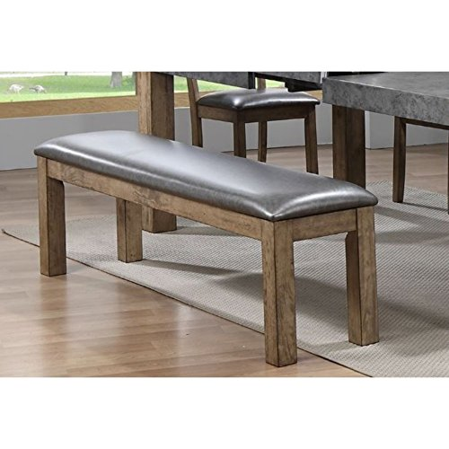 Dining Bench With Faux Leather Upholstery Color:Brown/Gray