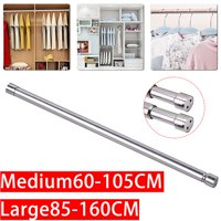 Adjustable Stainless Steel Tension Shower Curtain Straight Rod  Wardrobe, for Towels, Clothes, Curtains, 23-41 In| 33-63 In