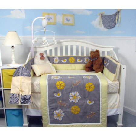 Soho Yellow Gray Flowers Collection Nursery Bedding Set