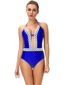 b0e1f69fae0e1 SAYFUT Juniors One-Piece Swimsuit Deep V-Neck Bikini Floral Lace Up Border  Beach