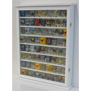 Large 72 Shot Glass Display Case Cabinet Rack Holder-Glass Door, Mirror Back (White Finish)