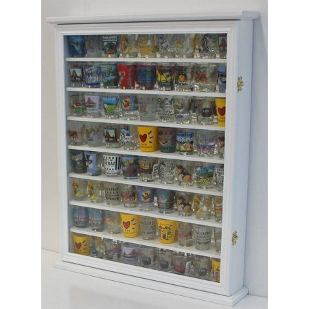 Large 72 Shot Glass Display Case Cabinet Rack Holder-Glass Door, Mirror Back (White Finish) (Large China Cabinet)