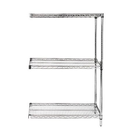 12 deep x 30 wide x 54 high 3 tier chrome add on shelving unit. Black Bedroom Furniture Sets. Home Design Ideas