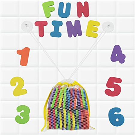 Click N Play Bath Foam Letters & Numbers with Mesh Bath Toys Organizer, 36 Count](Foam Numbers)