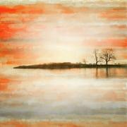 Parvez Taj Lake Benches Art Print on Premium Canvas