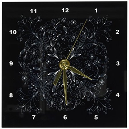3dRose Pretty Lacey Flower Decorated Square In White On A Black Background, Desk Clock, 6 by 6-inch