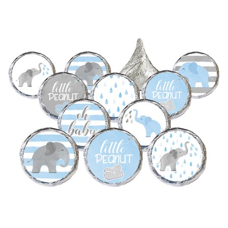 Blue Elephant Baby Shower Stickers 324ct - Girl or Boy Baby Shower Favor Candy Decorations - 324 Count Stickers