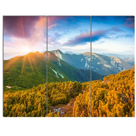 Design Art Bright Sunrise In Carpathian Mountains 3 Piece Photographic Print On Wrapped Canvas Set