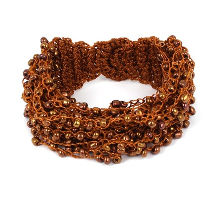 - Ladies Nylon Plastic Beaded Inlaid Copper Cash Button Bracelet Wristlet Brown