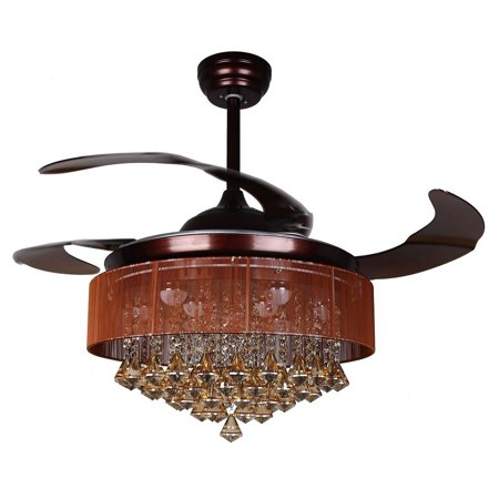 Ceiling Fans With Lights 42 Modern Brown Fan Retractable Blades Crystal Led Chandelier