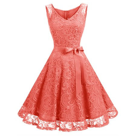 Market In The Box Women Floral Lace V Neck Sleeveless Bridemaid Party (Pink Color Dress)