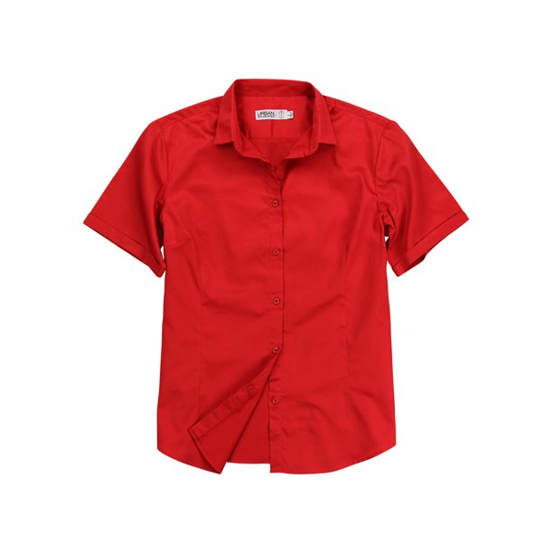 Women's 100% Cotton Classic Short Sleeve Shirt (Red, XX-Large)