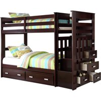 Deals on ACME Allentown Twin Over Twin Wood Bunk Bed with Storage