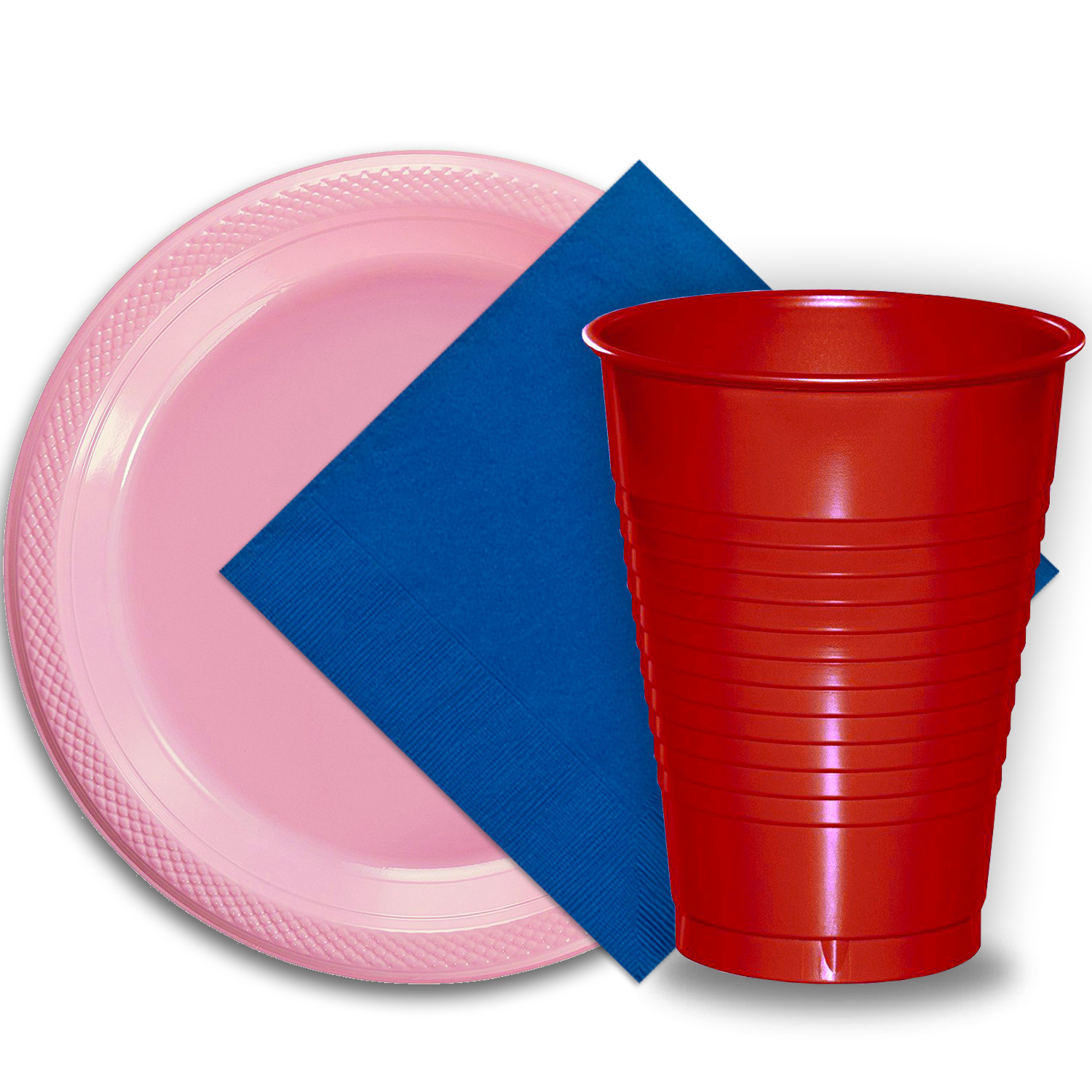 "50 Pink Plastic Plates (9""), 50 Red Plastic Cups (12 oz.), and 50 Dark Blue Paper Napkins, Dazzelling Colored Disposable Party Supplies Tableware Set for Fifty Guests."