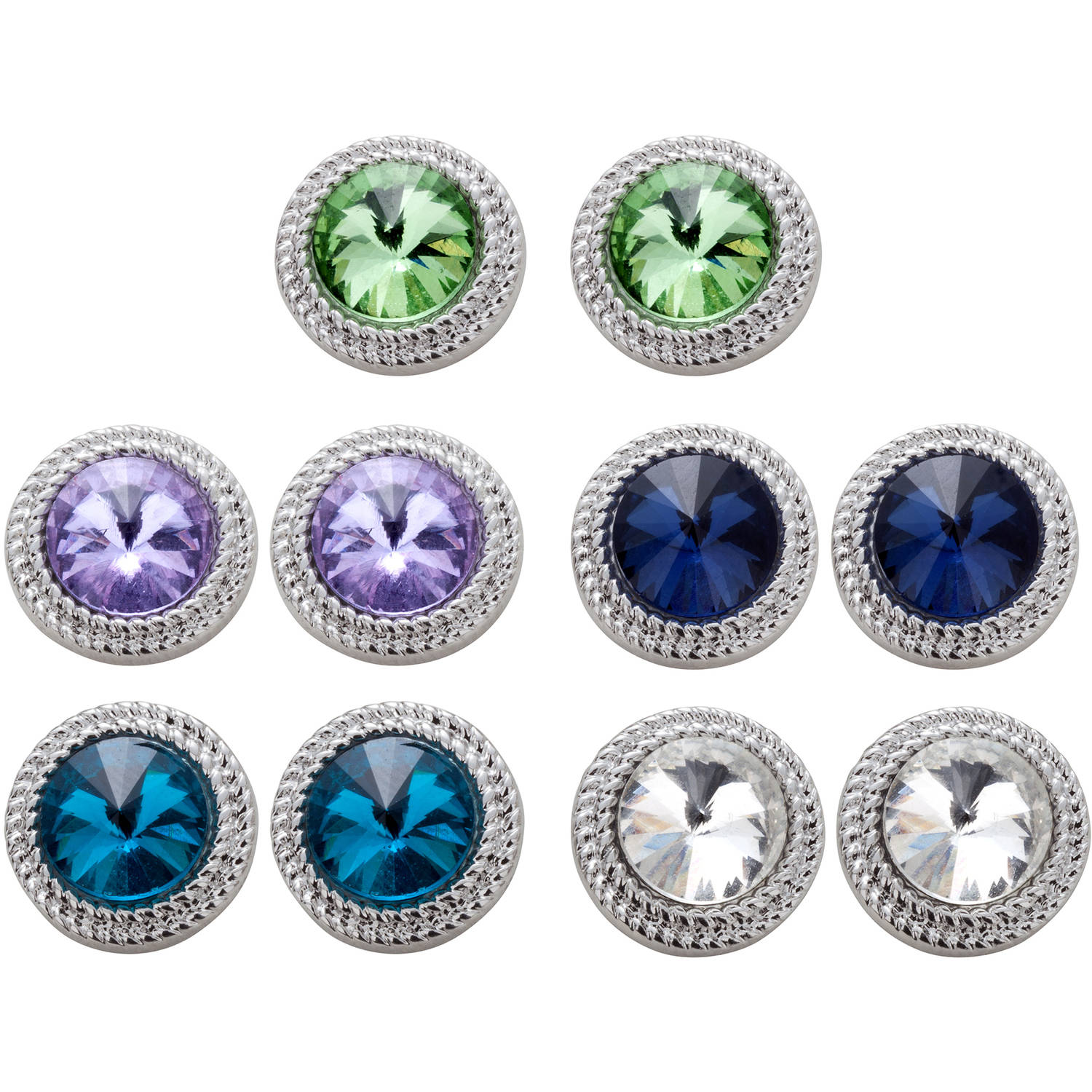 Women's Round Crystal Rhodium-Plated Earrings Set