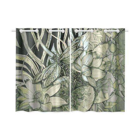 MKHERT Beautiful Lotuses Dragonfly Window Curtains Kitchen Curtain Room Bedroom Drapes Curtains 26x39 inch, 2 -