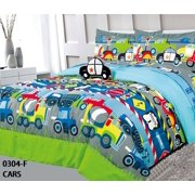 Golden Linens Kids Bed-In-Bag Construction Vehicles, Trucks, Police Car & Road Signs Twin Size Comforter, Sheet Set with Pillow Cushion Toy # 6 Pcs Cars