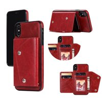 Kickstand Wallet Case with Credit Card Pockets for iPhone Xs Max-Red