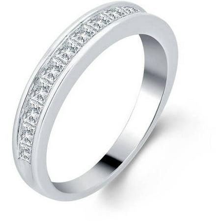 1.0 Carat T.W. Princess Diamond 10kt White Gold Wedding Band, I-J/I3 (Navy Gold Wedding)