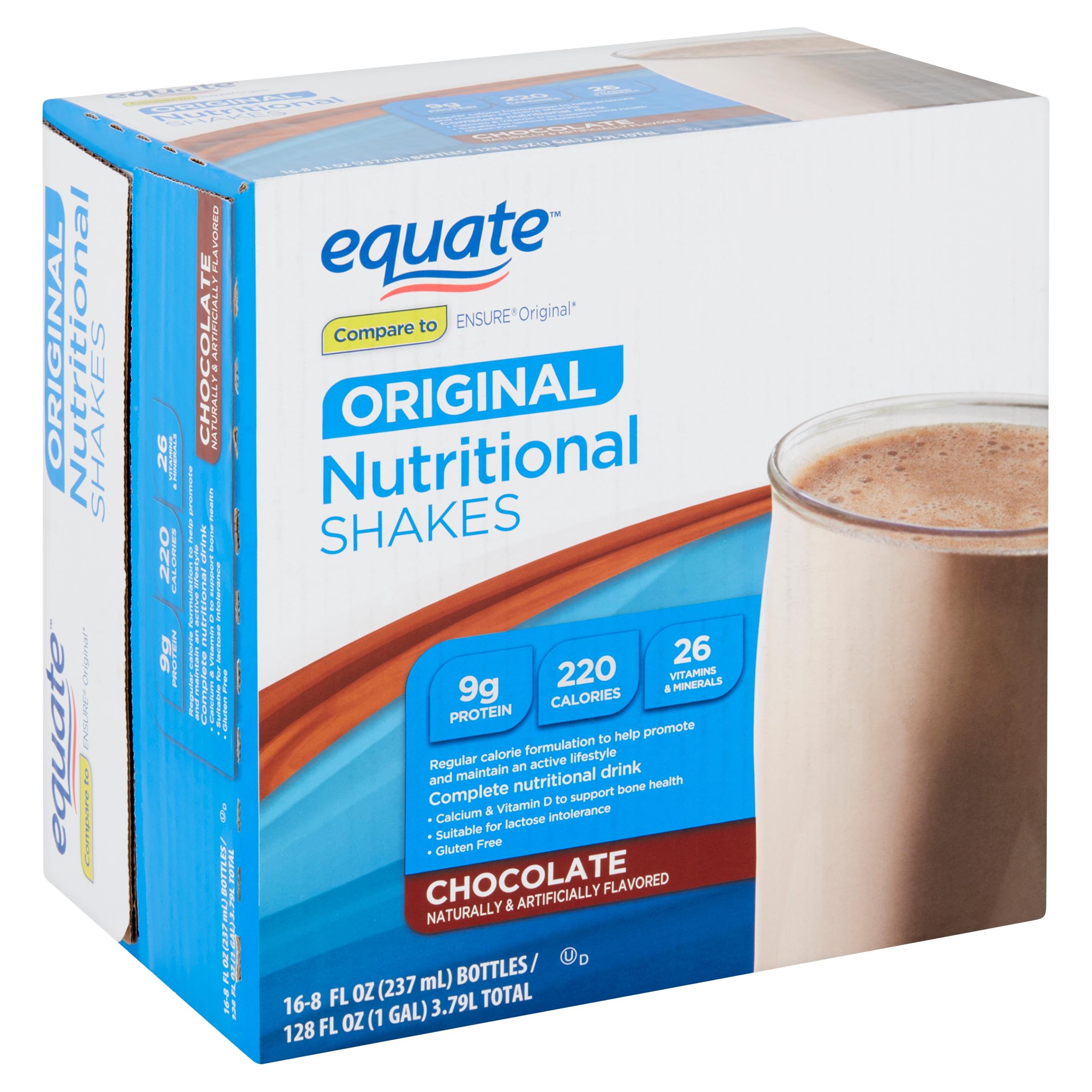 Equate Original Chocolate Nutritional Shakes, 8 fl oz, 16 count