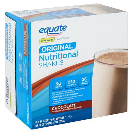 Equate Original Nutritional Shake, Chocolate, 8 fl oz, 16 - Chocolate Shake Mix