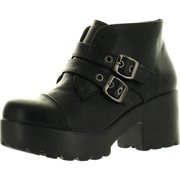 Static Footwear HAYDEN-3 Women Round Toe Buckle Strap Side Zip Platform Chunky Ankle Booties