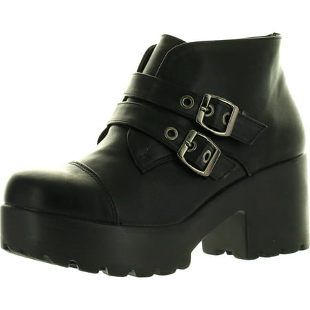 - Static Footwear HAYDEN-3 Women Round Toe Buckle Strap Side Zip Platform Chunky Ankle Booties