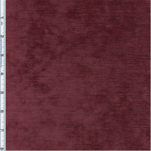Bordeaux Red Designer Palermo Velvet Chenille Home Decorating Fabric, Fabric By the Yard