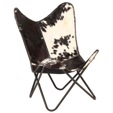 vidaXL Butterfly Chair Genuine Goat Leather Black and White