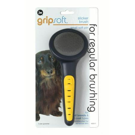 JW Pet GripSoft Slicker Dog Brush, Soft Pin, Small