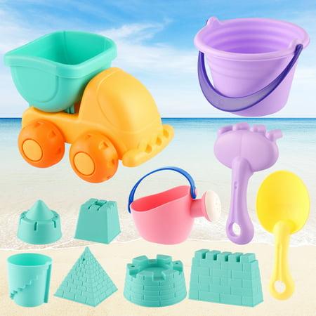 Beach Toys Set for Kids Toddlers 11pcs Beach Sand Toy Set Including Sand Truck, Beach Molds, Beach Bucket, Beach Shovel Tool Kit, Sandbox Toys (Bucket Kit)