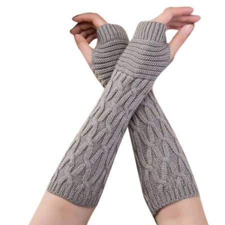 Fashion Women Winter Wrist Arm Warmer Knitted Long Fingerless Gloves Mitten GY (Striped Wrist Warmers)