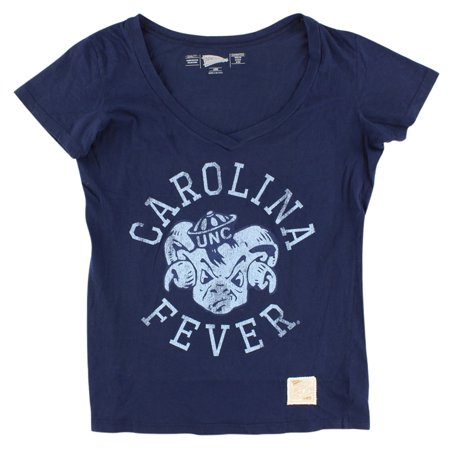 Distant Replays Womens North Carolina Tar Heels College Deep V Neck T Shirt Navy Blue