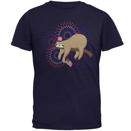4th Of July Sloth Patriotic Cute Fireworks Mens T