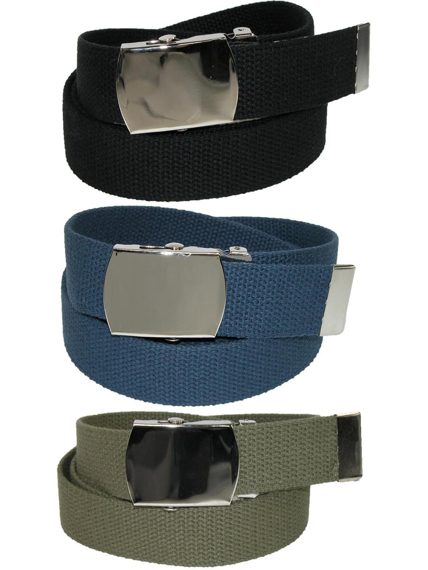 Pack of 3 CTM Mens Big /& Tall Belt with Flip Top Nickel Buckle