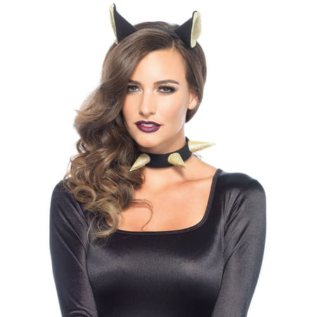 Leg Avenue Women's 2 Piece Bad Kitty Costume Kit, Black/Gold, One Size](Bad Kitty Costume)