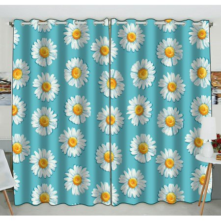 ZKGK Daisy Floral Flower Pattern Window Curtain Drapery/Panels/Treatment For Living Room Bedroom Kids Rooms 52x84 inches Two Panel