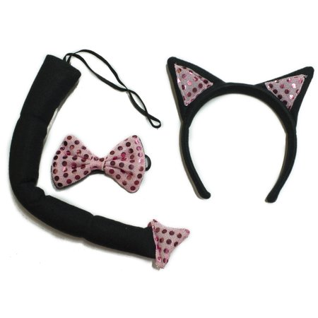 Halloween Costume Accessory 3 Piece Black and Red Cat Kit (Three Black Cats Halloween Song)