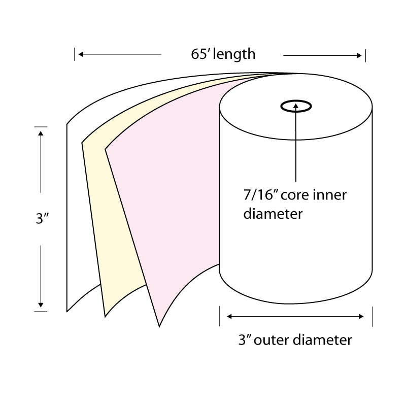 """3"""" x 65' 3-Ply Carbonless Paper POS Rolls (Carton of 50 Rolls) by TST Impreso"""