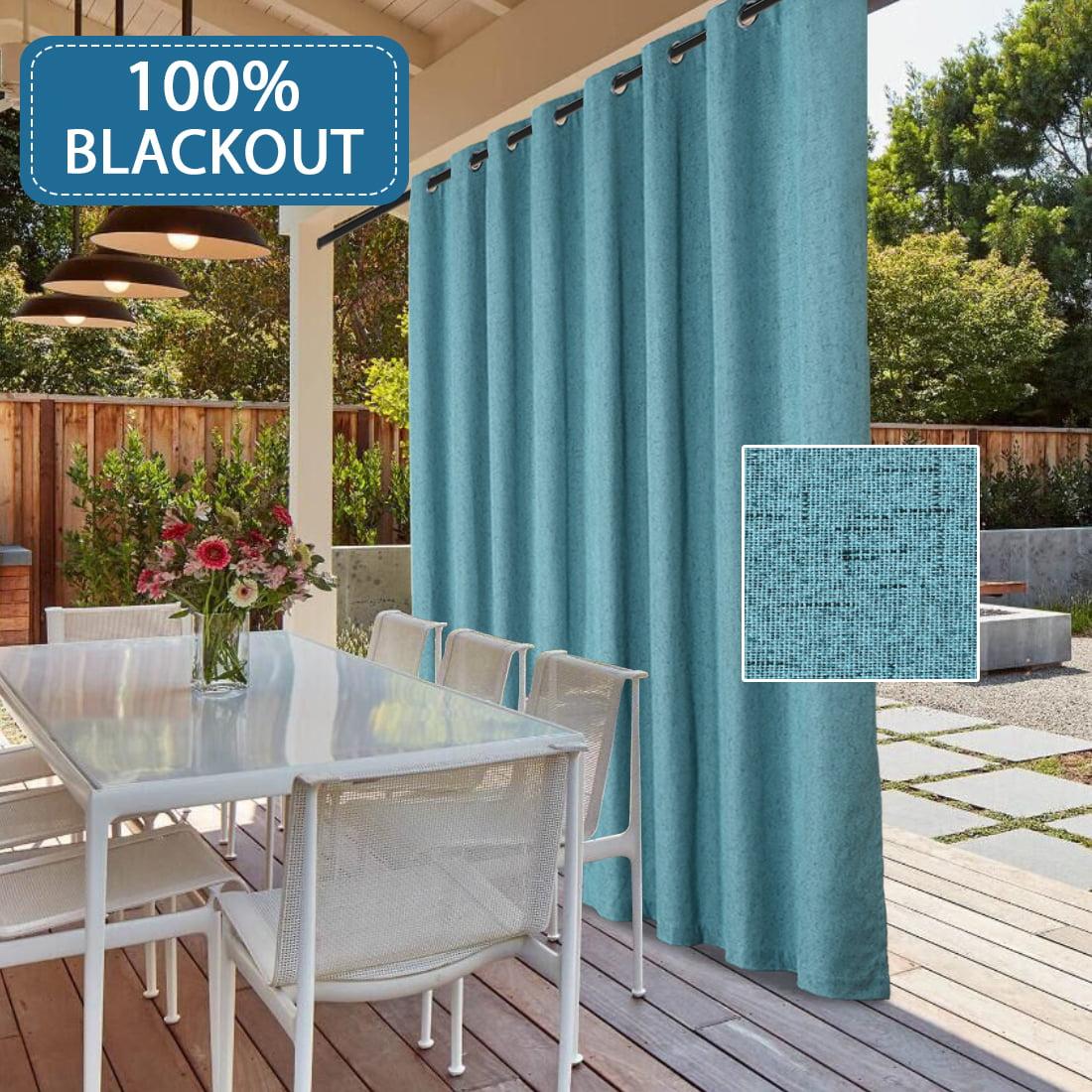 Waterproof Outdoor Rich Linen Patio Curtain 100 Blackout