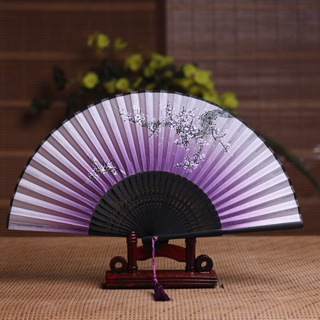 1Pcs Foldable Silk Fabric Bamboo Folded Hand Fan Great Wedding Decoration, Birthdays, Home Gifts