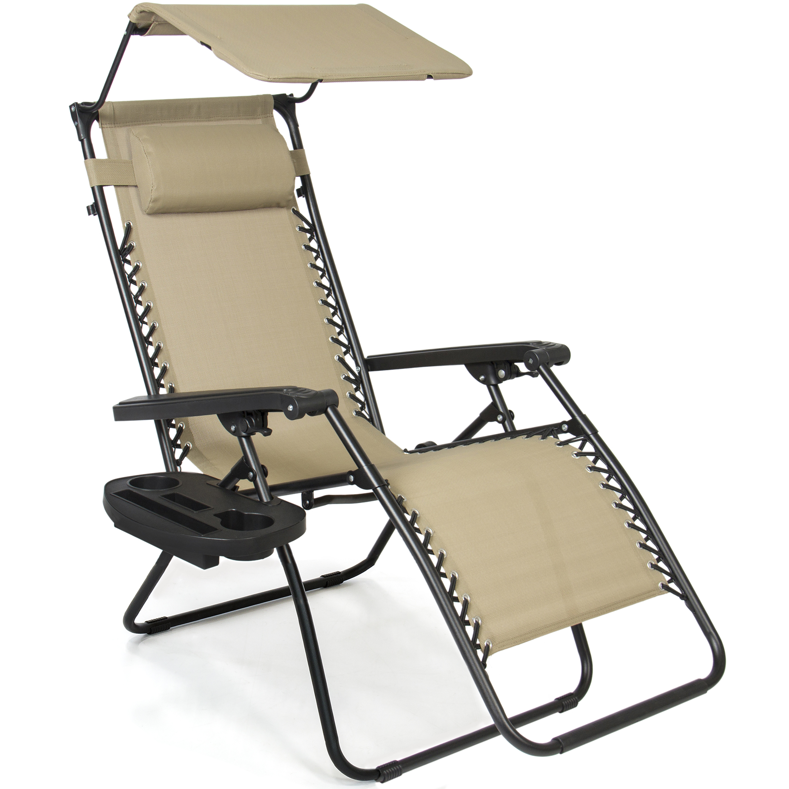 Folding Zero Gravity Recliner Lounge Chair With Canopy Shade & Magazine Cup Holder - zero gravity chair with cup holder