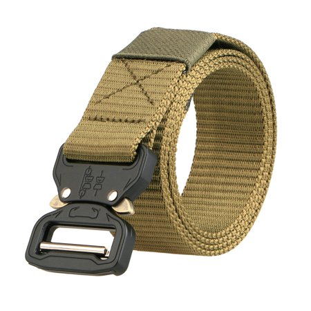 TSV Mens Tactical Belt, Military Style Webbing Riggers Web Belt Heavy-Duty Quick-Release Metal Buckle ()