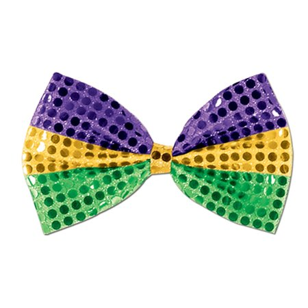 Club Pack of 12 Green, Gold and Purple Glitz 'N Gleam Mardi Gras Bow Tie Costume Accessories 7