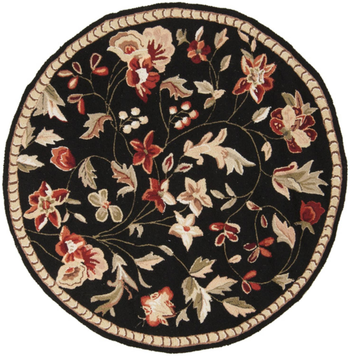 3' Raspberry Blossom Caviar Black and Wine Hand Hooked Round Wool Area Throw Rug