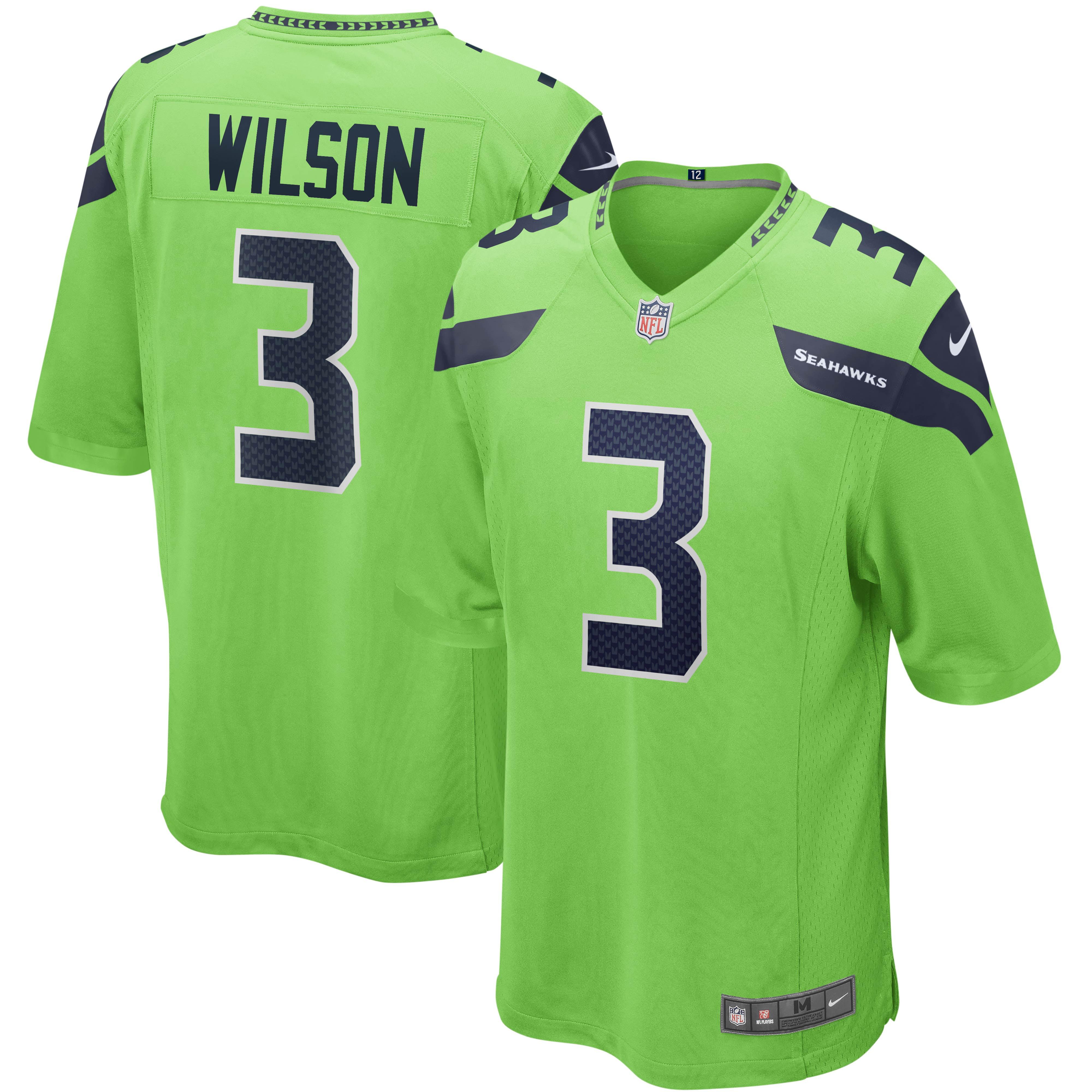 Russell Wilson Seattle Seahawks Nike Alternate Game Jersey - Neon Green - Walmart.com