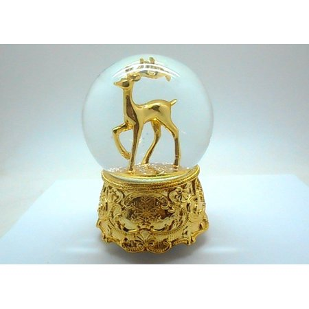 Elegantoss 100MM Poly Resin Musical Christmas Rotating Gold Reindeer Snow Globe with Iron Base and Playing Music, Falling -