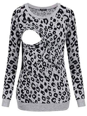 Jchiup Maternity Women's Double Layer leopard Print Breastfeeding Top
